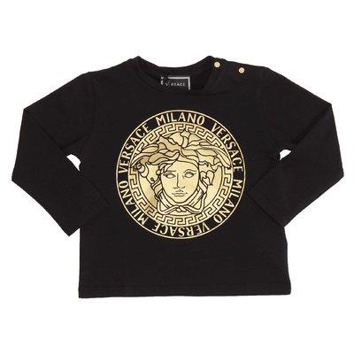 T-shirt nera in jersey di cotone con Medusa laminata oro