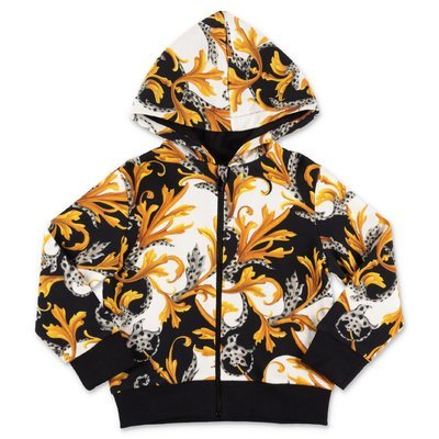 Young Versace baroque print cotton hoodie