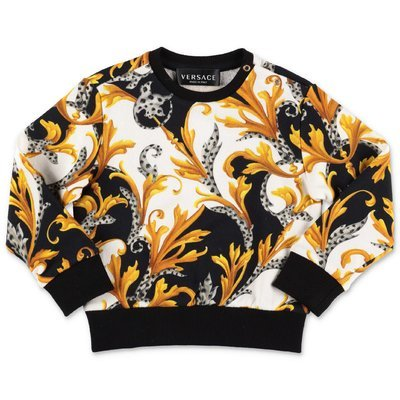 Young Versace baroque print cotton sweatshirt