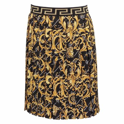 Baroque print silk pleated skirt