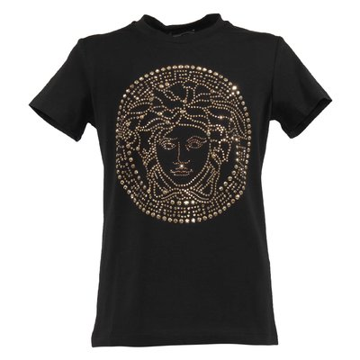 T-shirt nera in jersey di cotone con logo Medusa