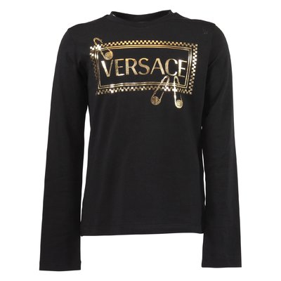 T-shirt nera in jersey di cotone con logo 90s vintage