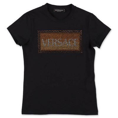 Young Versace black 90s logo cotton jersey t-shirt