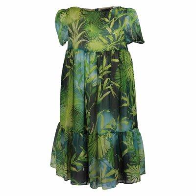 Abito verde tema jungle in seta