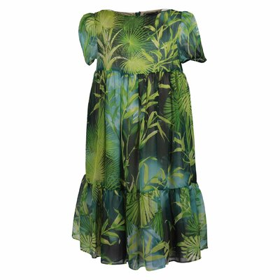 Jungle theme silk dress