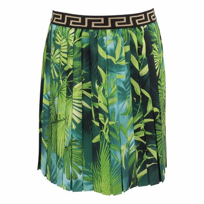 Green Kid's Jungle silk pleated skirt