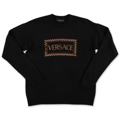 Young Versace black wool blend knit jumper