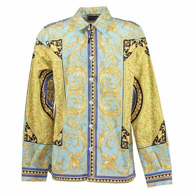 Fluorescent baroque print cotton poplin shirt
