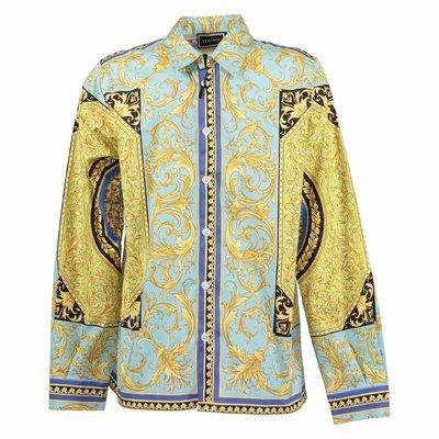 Camicia stampa fluo barocco in popeline di cotone