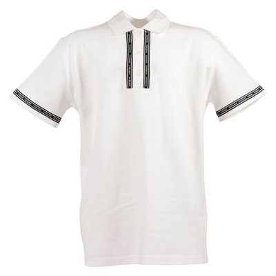 White Versace ribbon cotton piquet polo shirt