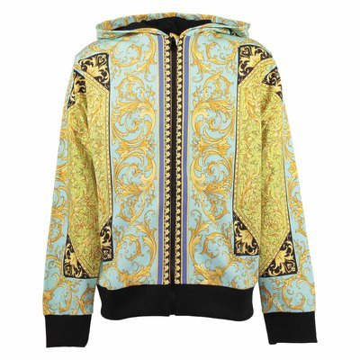 Fluorescent baroque print cotton zip-up hoodie