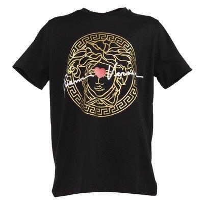 T-shirt nera in jersey di cotone GV signature Medusa