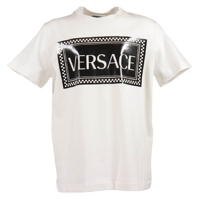 White 90s vintage logo cotton jersey t-shirt