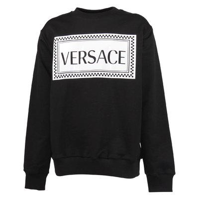 Black 90s vintage logo detail cotton sweatshirt