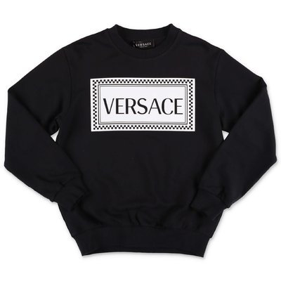 Young Versace black 90s logo cotton sweatshirt