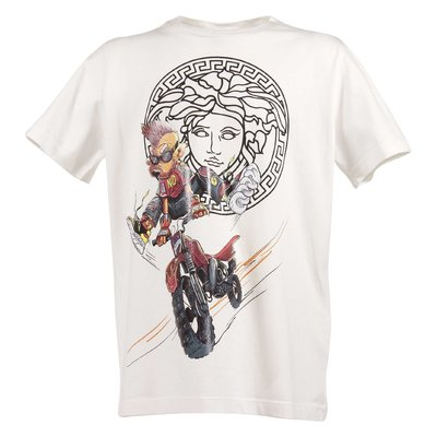 T-shirt bianca in jersey di cotone con logo Medusa cartoon