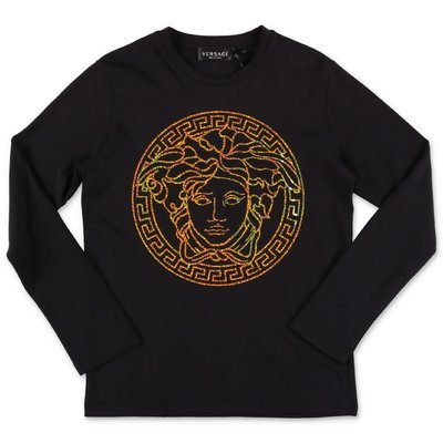 Young Versace Medusa black cotton jersey t-shirt