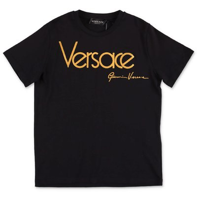 Young Versace black logo detail cotton jersey t-shirt