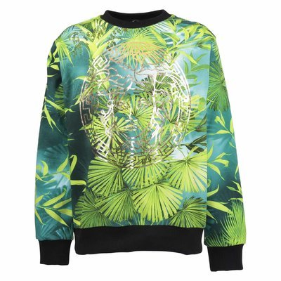 Kids' jungle print Medusa detail cotton sweatshirt