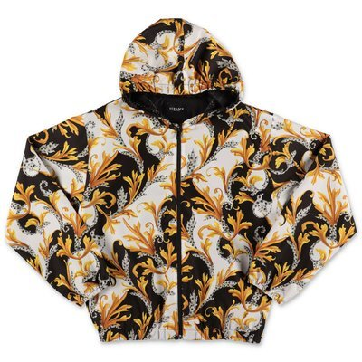 Young Versace baroque print nylon jacket with hood
