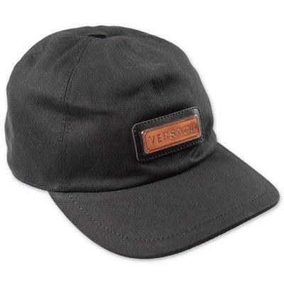 Young Versace berretto nero in tela di cotone