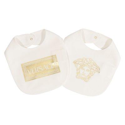 Set due bavette bianche in cotone con logo