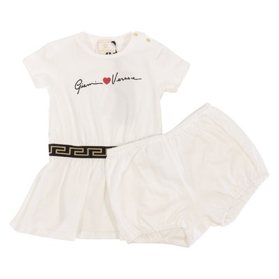 Young Versace white logo Signature cotton jersey dress & diaper cover