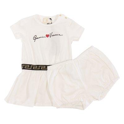 Abito e coulotte colore bianco in jersey di cotone con logo Signature