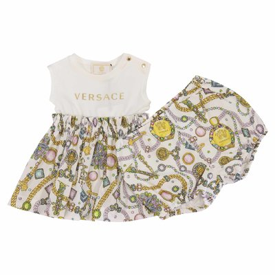 Young Versace printed cotton dress with culottes
