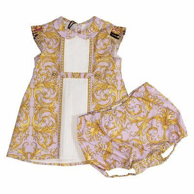 Pink baroque print poplin cotton dress & diaper cover