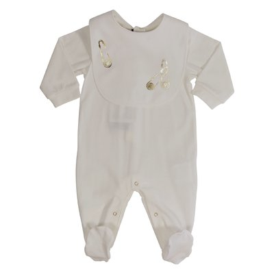 White cotton romper and bib set