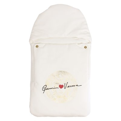 White logo detail cotton sleeping bag with hood