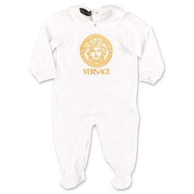 Young Versace Medusa white cotton jersey romper