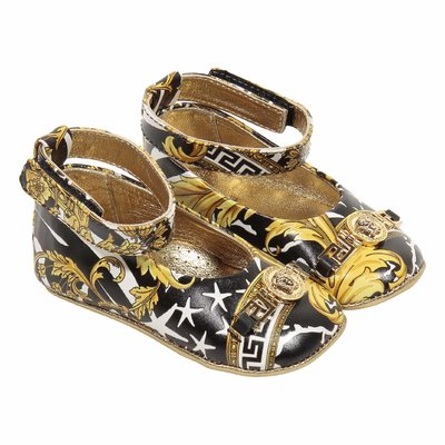 Savage Barocco print leather ballerinas