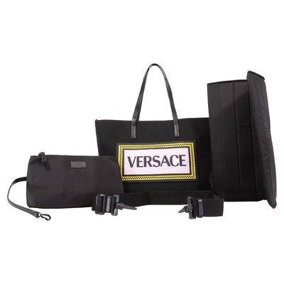 Young Versace black 90s vintage logo techno fabric bag