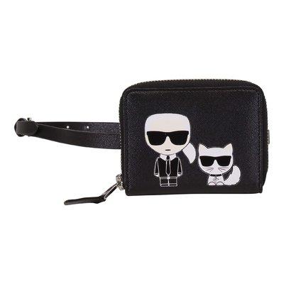 Black faux leather Karl & Choupette belt bag