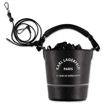 Karl Lagerfeld black faux leather bucket bag