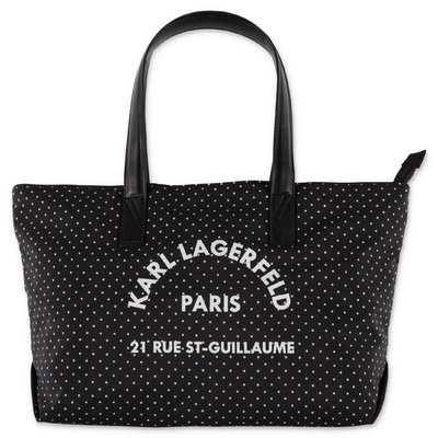 Karl Lagerfeld black polka dot nylon bag