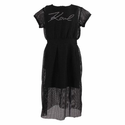 Black logo detail techno fabric mesh dress