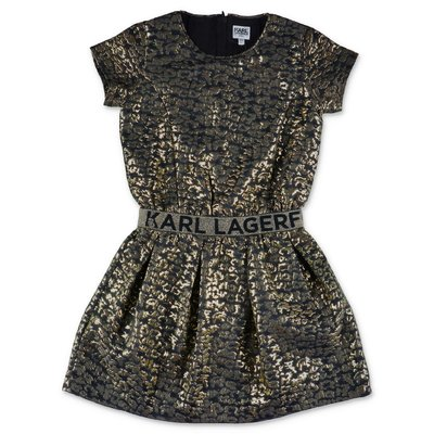 Karl Lagerfeld black and gold techno fabric dress
