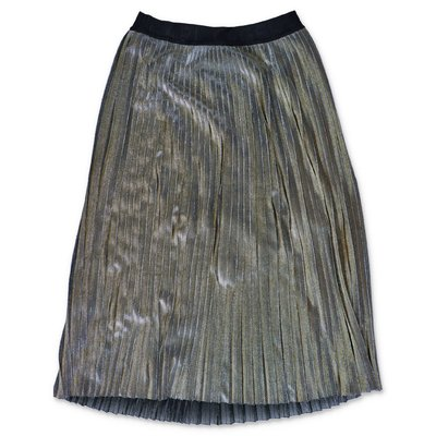 Karl Lagerfeld metallic gold techno fabric pleated skirt