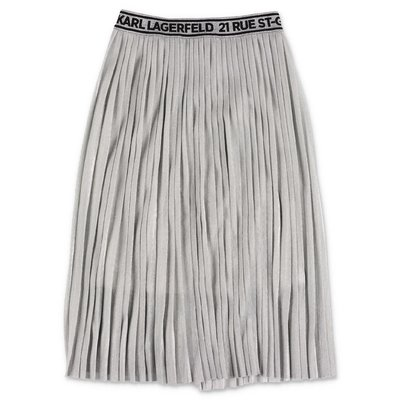 Karl Lagerfeld silver metal techno fabric pleated skirt
