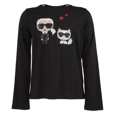 Black cotton jersey Karl & Choupette t-shirt
