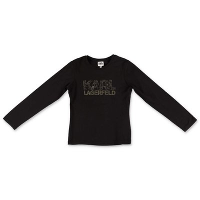 Karl Lagerfeld logo black cotton & modal jersey t-shirt