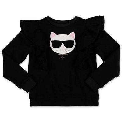 Karl Lagerfeld felpa nera Choupette in cotone