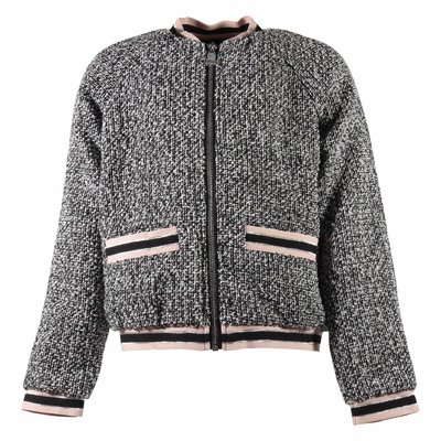 Grey bouclé zip jacket