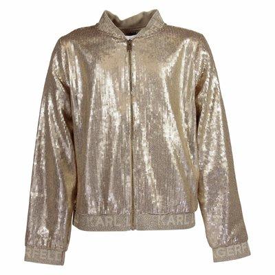Giacca oro in techno tessuto con paillettes