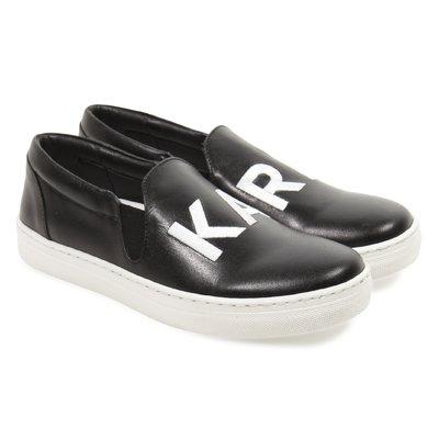 Sneakers nere senza lacci in pelle con logo