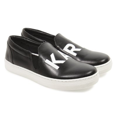 Black logo detail leather no laces sneakers