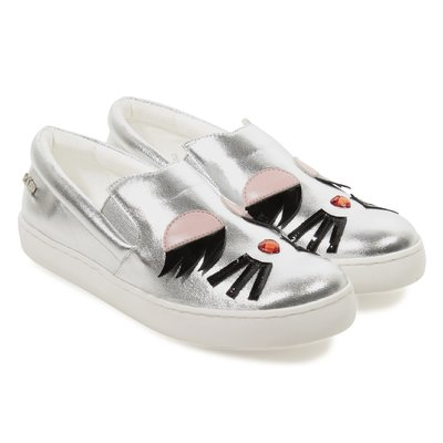 Silver patch leather slip-on sneakers